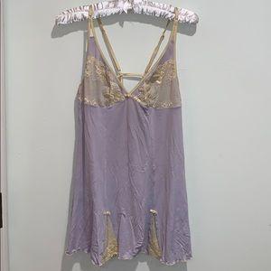 Jezebel purple lavender cream lace chemise